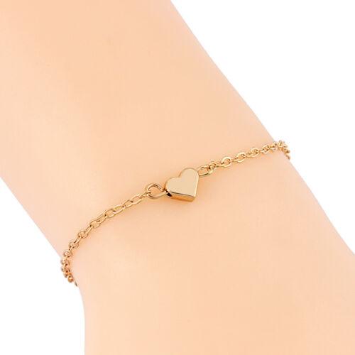 Silver//Gold Tone Tiny Dainty Heart Bracelet Women Minimalist Thin Heart Bangle