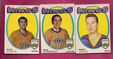 1971-72 OPC LA KINGS CURTIS RC + JOYAL + CORRIGAN  CARD (INV# A1816)