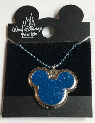 Vintage Walt Disney Silver Tone Royal Blue Mickey Necklace Party Favors #2707