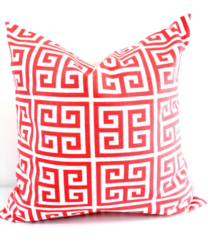 Cotton.Select size Coral Greek Key  Pillow Cover Sofa Pillow Cover Sham cover