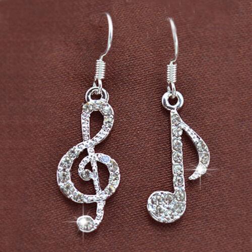 1 Paire Élégant Nouveau Bijoux Cristal Strass Musique Note Pendants d/'oreilles pour femmes