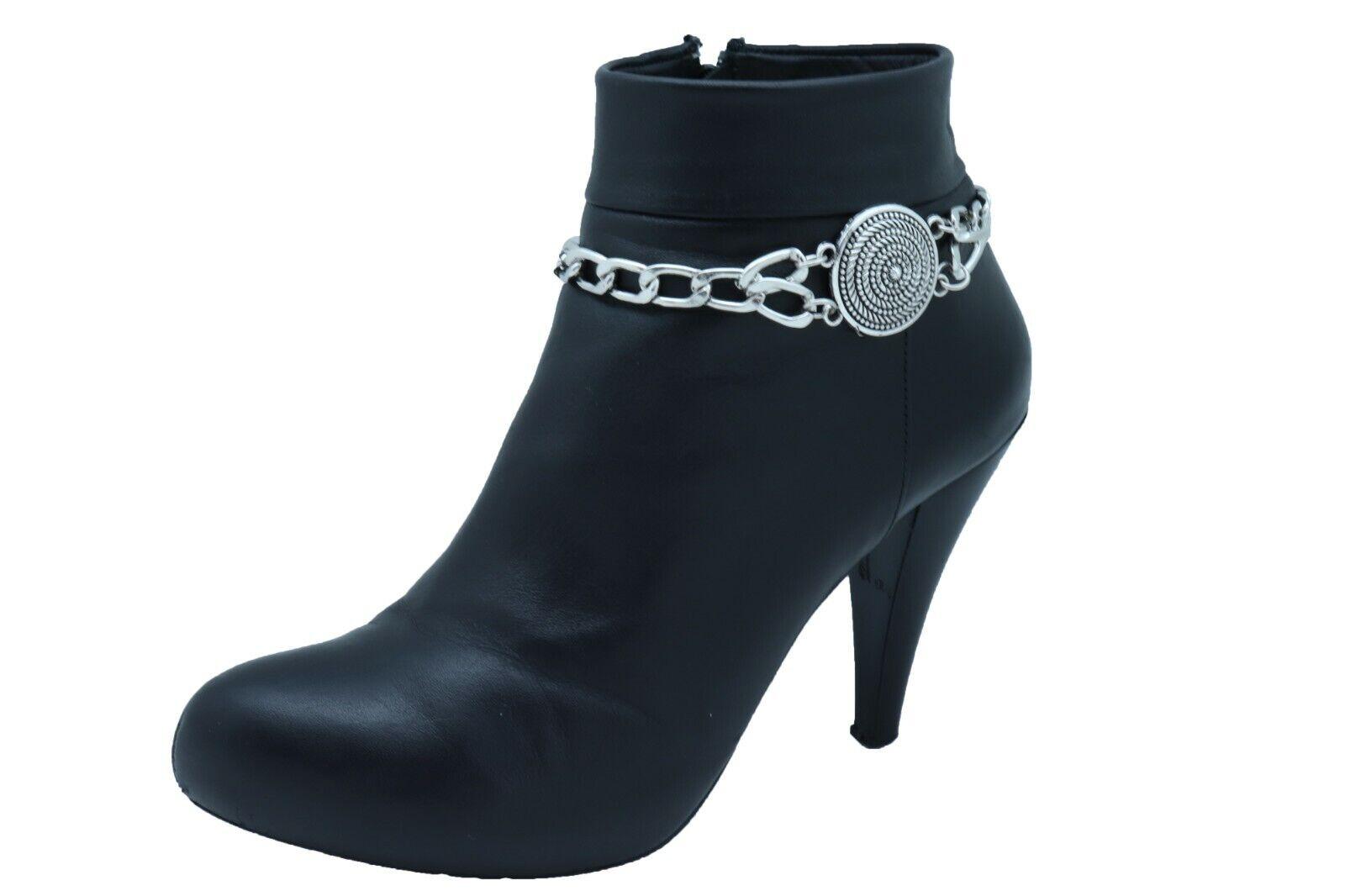 Women Silver Metal Chain Links Boot Bracelet Shoe Swirl Coin Charm Anklet Strap