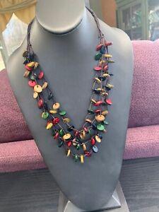 Vintage-Bohemian-Multi-Color-Wood-Beaded-Multi-4-Strand-Necklace-24