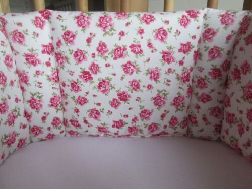 swing crib bumper girls vintage pink//red rose with baby pink and white dots new
