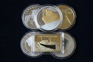 TITANIC-NOVELTY-GOLD-SILVER-BAR-amp-COINS-6-PCS-FREE-CAPSULE-COLLECTIBLE-GIFT-HOT