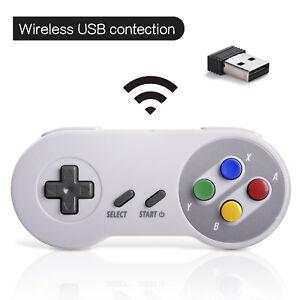Wireless SNES Controller + USB Receiver Joypad for Windows PC MAC