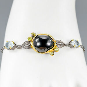 Vintage-Natural-Spinel-925-Sterling-Silver-Bracelet-Inches-8-BR03263