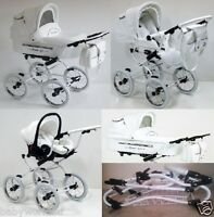 Isabell White Leather Baby Retro Pram Travel System + Car Seat Option