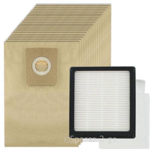 20 Bags for NILFISK GM200 GM200E GM300 GM400 Vacuum Hoover HEPA Filter Pad Kit