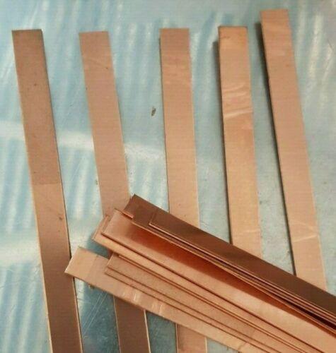 Copper strip 10 mm x 0.55 mm x 30 cm plastic peelaway mirror side  99.99/% pure
