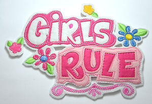 GIRLS-RULE-PINK-DOOR-SIGN-Embroidered-Sew-Iron-On-Cloth-Patch-Badge-APPLIQUE