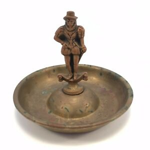 Vintage-Antique-Ashtray-Pipe-Brass-England-Sir-John-Hawkins-Introduced-Smoking