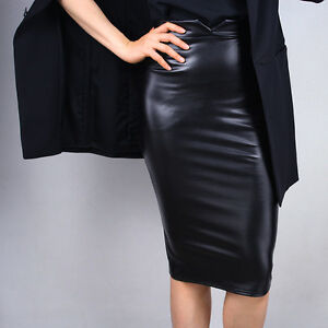 fcdf0af87a Details about Pencil Skirt Leather High Rise Bodycon Long Stretchy Brown  Black Red Baby Blue