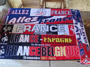 Lot-6-Echarpe-EQUIPE-de-FRANCE-football-FFF-match-Belgique-Espagne-supporter