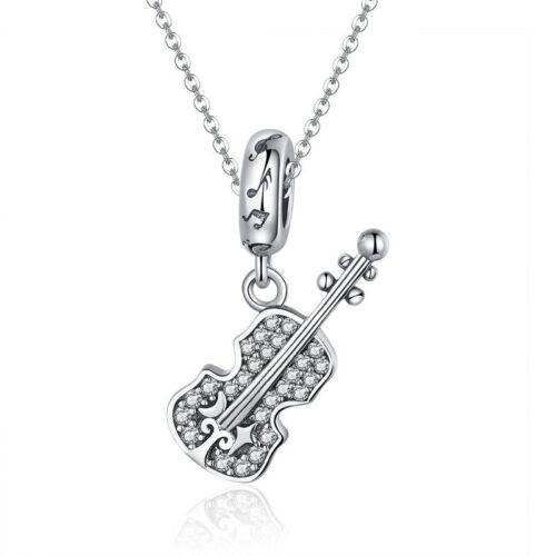 Real 925 Sterling Silver Violin Zircon Dangle Charm Pendant For Girl//Boy Present