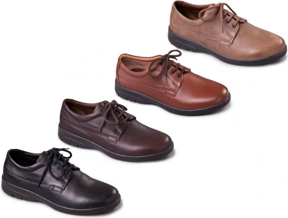 a3cdec4c169 Padders LUNAR Mens Comfy Leather Lace-Up Wide Dual Extra Wide Fit Casual  shoes