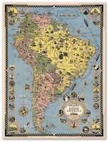 Cruise Lines Map Of South America Chile Brazil Bolivia Peru Argentina Circa 1942