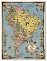 Cruise Lines Map Of South America Chile Brazil Bolivia Peru Argentina Circa 1942