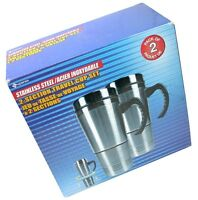 Pair Of Superex Stainless Steel 2-section Travel Cup Set 99-329