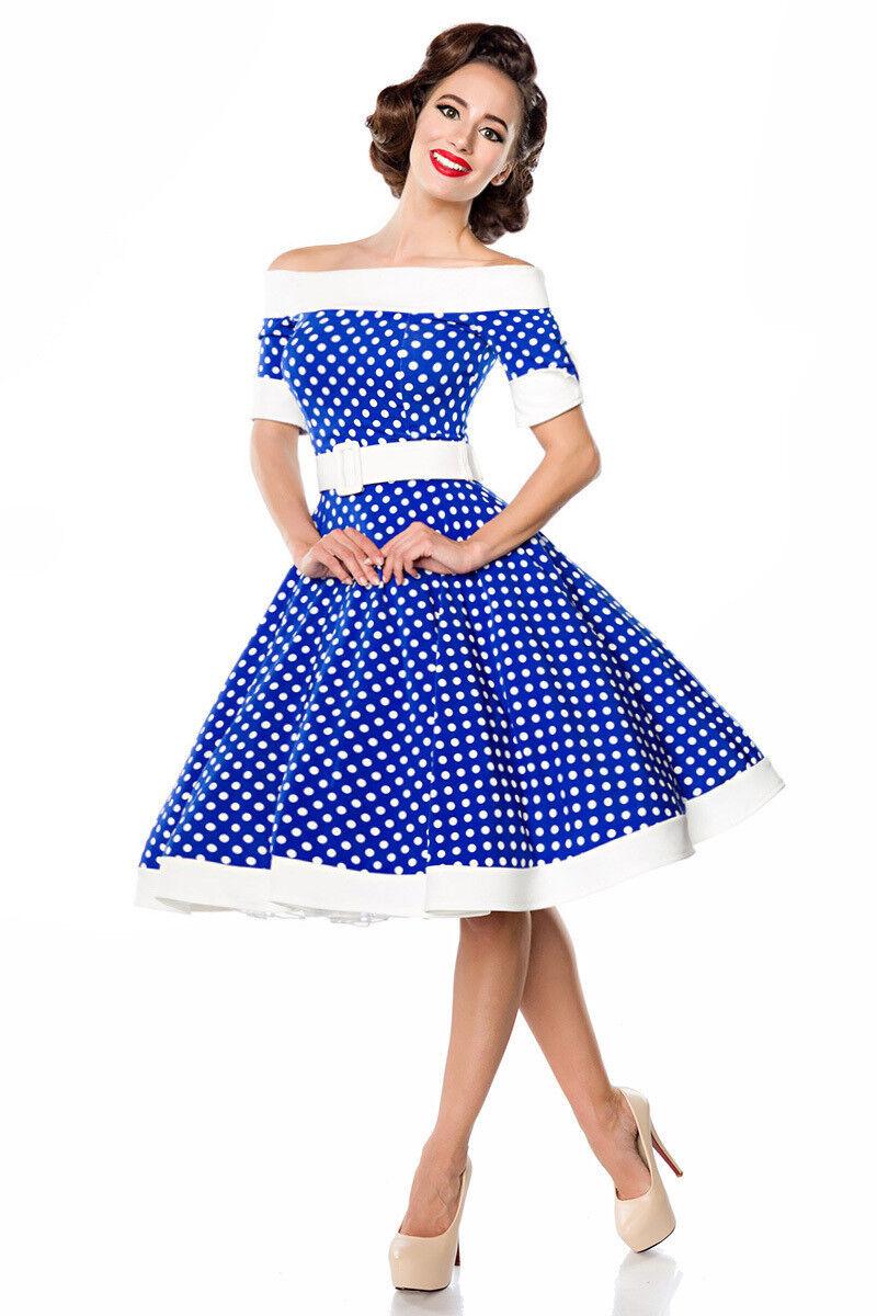 Belsira Damen Kleid Swing blau weiß 34 36 38 40 42 44 46 Rockabilly Vintage
