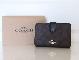 559b2f2b42c6 New Coach F23553 Medium Corner Zip Wallet Signature PVC Brown Black ...