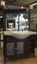 Mobile bagno classico noce con lavabo da cm 105   con specchio con 2 applique
