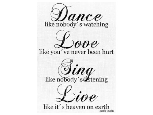 Vintage Shabby LEINWAND Keilrahmen DANCE LOVE SING Canvas Bild
