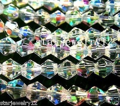 Lots 300Pcs Crystal Clear AB Faceted Vertebral Glass Spacer Beads 4mm