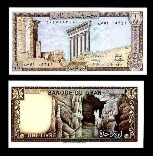 LEBANON 1 LIVRES 1980 P 61 AUNC ABOUT UNC
