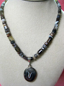 17.5???polished agate necklace & pendant w/sterling silver + pierced earrings