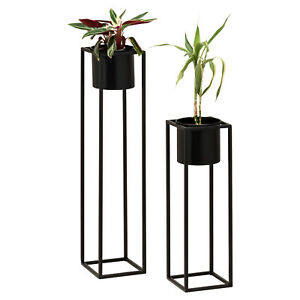 Hartleys-Small-Round-Freestanding-Black-Metal-Plant-Pot-Tall-Square-Floor-Stand