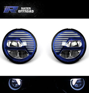 Angry-Bird-LED-BLUE-Headlight-DRL-Hi-Lo-Beam-Cree-LED-for-97-06-Jeep-TJ-Wrangler