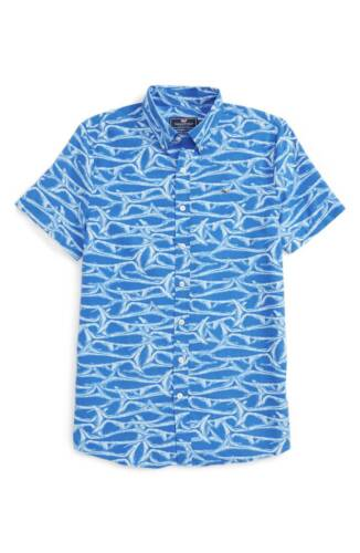 Vineyard Vines Kids Boys Short-Sleeve Brushed Marlin Performance Whale Shirt $49