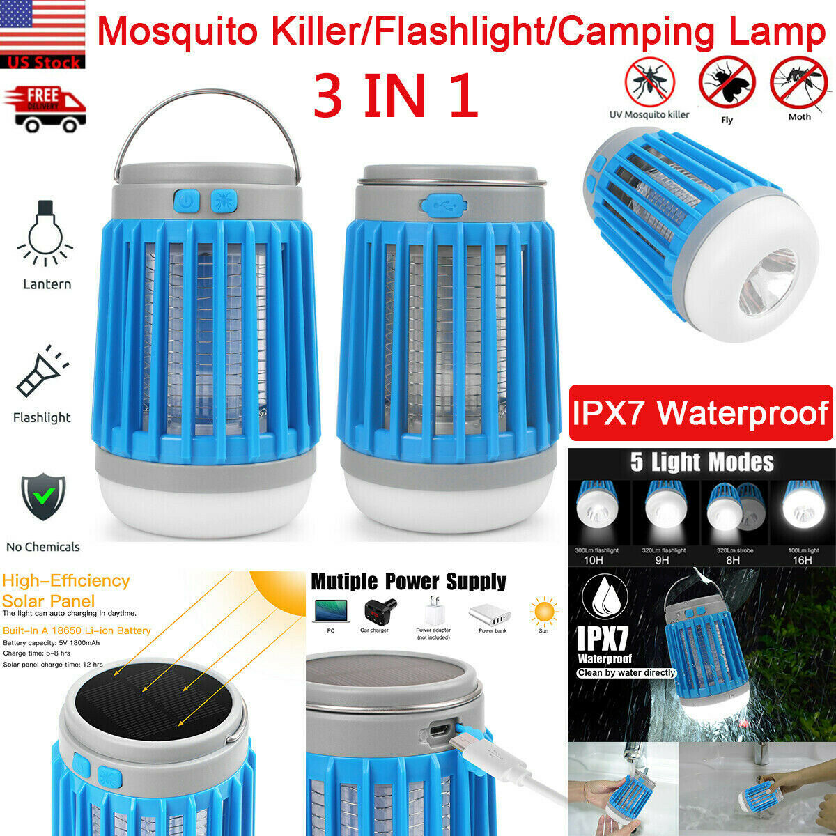 USB//Solar Power Mosquito Insect Killer Trap Lamp Light LED Electric Bug Zapper