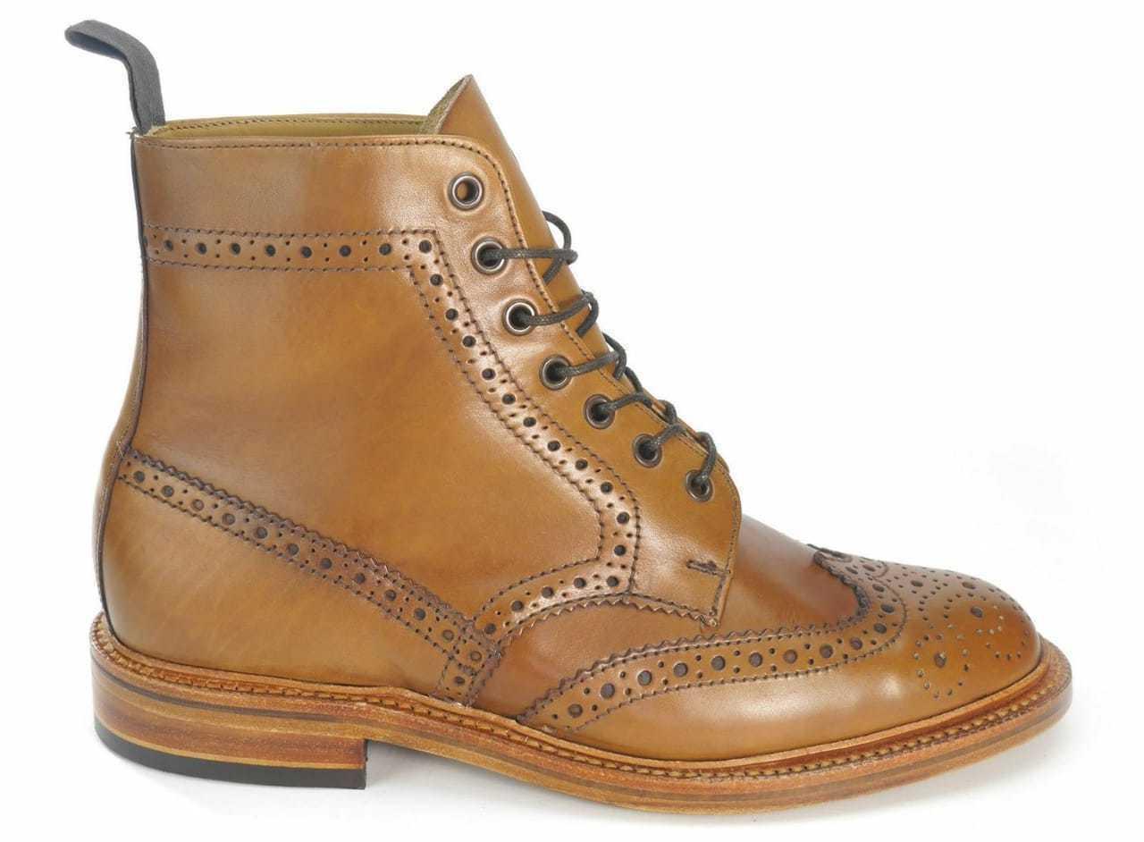 Handmade Men's Genuine Tan Leather Formal Brogue Ankle Cognac  Wingtip stivali  economico online