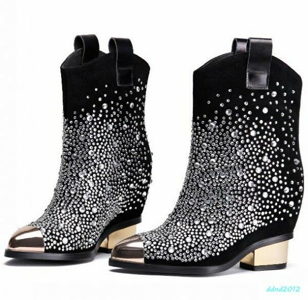 donna nero chunky heel metal toe rhinestones PU leather western cowboy stivali