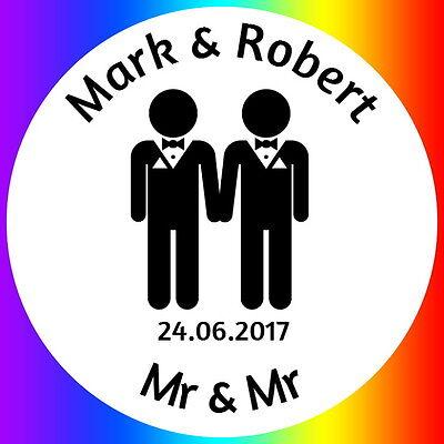 Personalised Gloss Dello Stesso Sesso Matrimonio Gay Matrimonio Cerimonia Civile Adesivi Etichette-mostra Il Titolo Originale