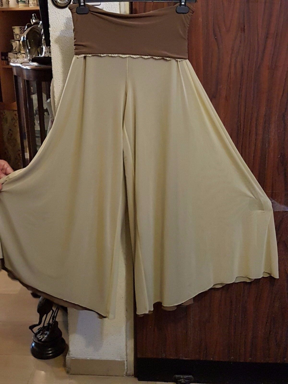 Michal Negrin Amazing Solid Long Wide Pants -2 sides  NWT , Sz.L