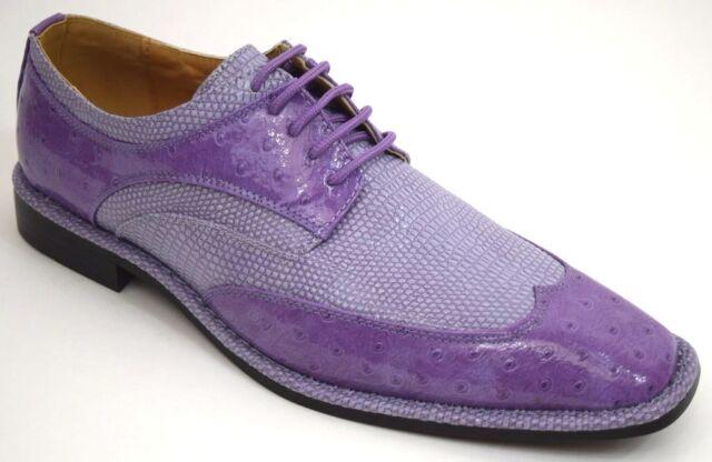 Men's Dress Shoes Wing Tip Light Purple Lizard & Ostrich Print EXPRESSIONS 6704
