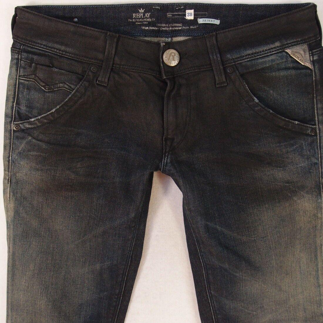 Donna REPLAY WX600 Suzanne Stretch Skinny blu Jeans W28 L32 UK Taglia 8
