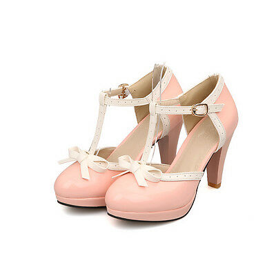 KUCUN Womens T Strap Lolita Bowtie High Heel Oxford Leather Retro Shoes Plus SZ