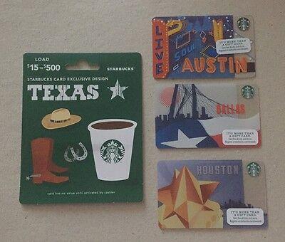 Starbucks Gift Card Dallas Bridge Flag /& Texas Lone Star State ~ Mint~ 1 of each