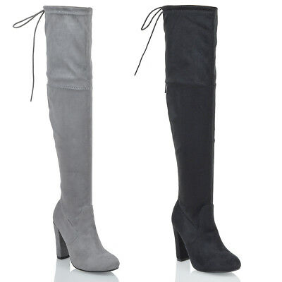11903761d41d Womens Ladies Thigh High Over The Knee Boots Lace Up Long Block Heel Shoes  Size
