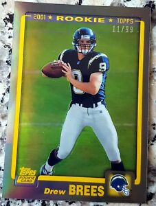 DREW-BREES-2012-Topps-Chrome-Reprint-GOLD-Refractor-SP-2001-Rookie-Card-RC-11-99