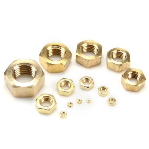New 10//20PCS Brass Hex Nut Copper Screw Cap Outside Hexagonal Full Nut M8-M24