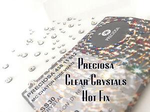 100-Genuine-Preciosa-Hotfix-Crystals-Flat-Back-Clear-Rhinestone-Gems-UK