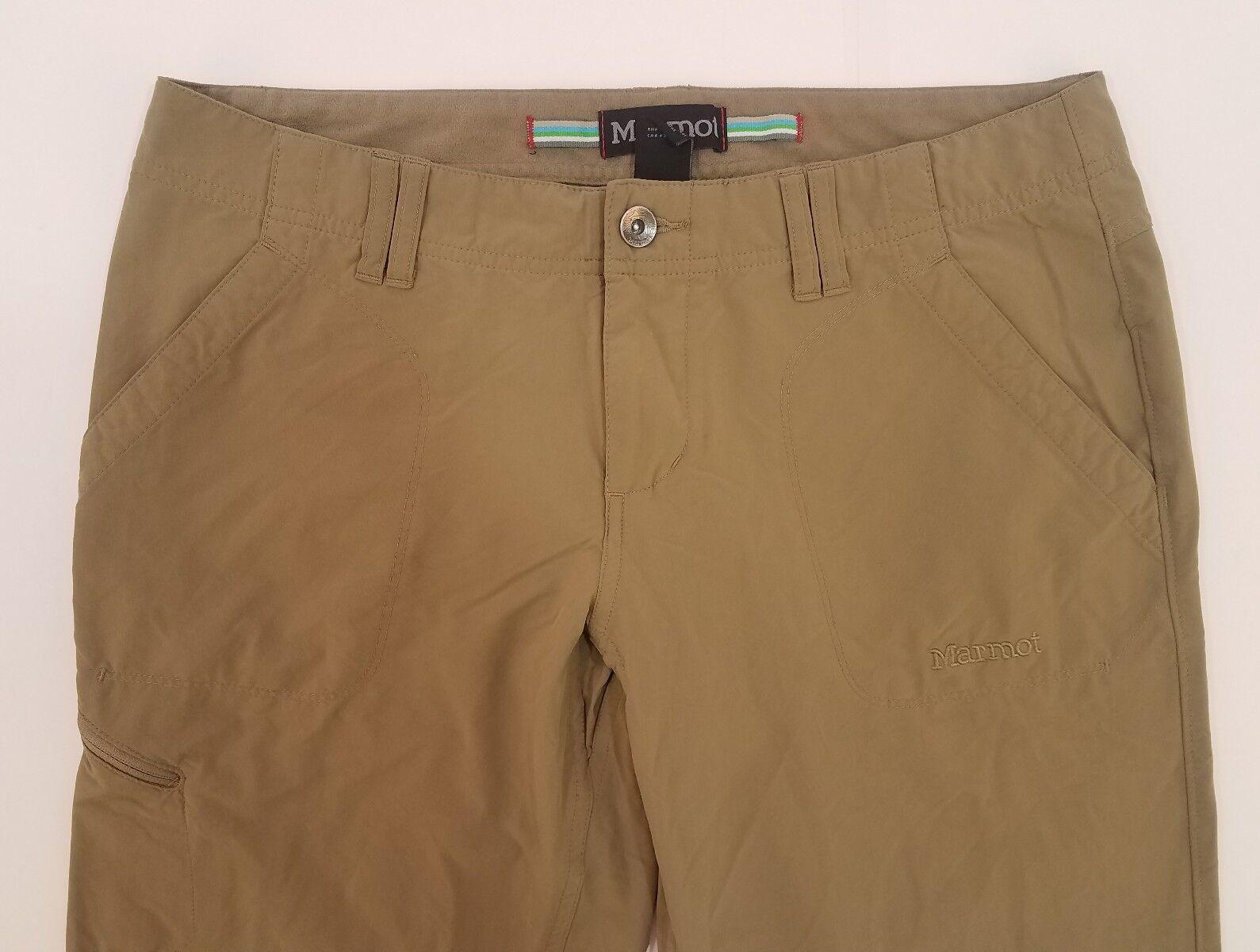 Womens Marmot Beige Lightweight Casual Hiking Cargo Pants Size 8 M Inseam 30