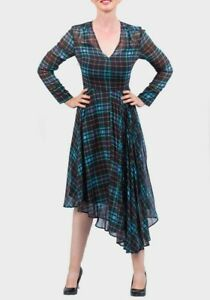 M-amp-S-Collection-Size-6-12-14-Chiffon-Lined-Tartan-Checked-Asymetric-Midi-Dress