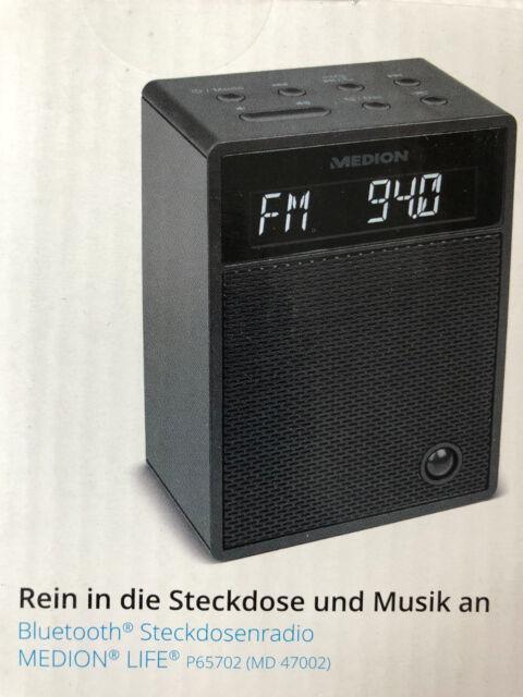 Medion Bluetooth Steckdosenradio Medion Life Schwarz P65702 Radio MD47002 Neu
