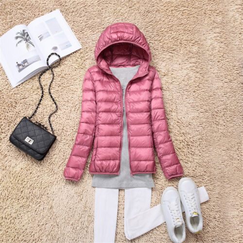 Women/'s Duck Down Puffer Slim Jacket Coat Hooded Hoodie Ultralight Outdoor Parka